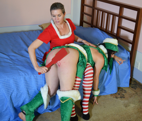 Kay gets spanked in 2 Christmas scenes