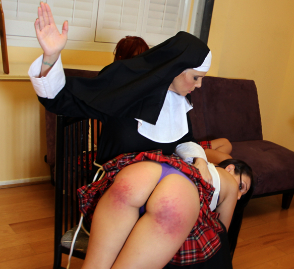 Syren de Mer plays a strict nun spanking Tori Avano