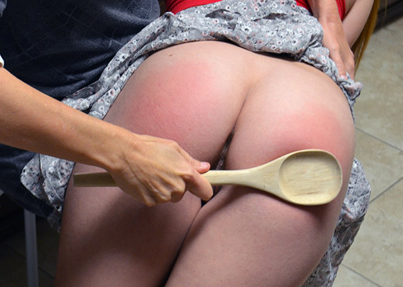 Much to her dismay, Kimberly admitted getting spanked with a wooden spoon