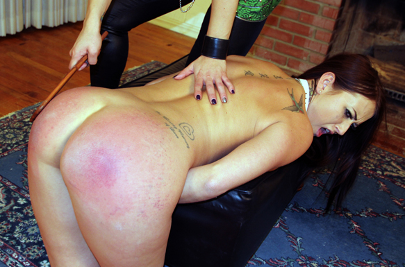 Alexis took many hard spankings for our site - getting marked for Girl Spanks Girl scene