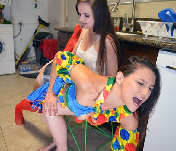 Celeste gets her clown spanking
