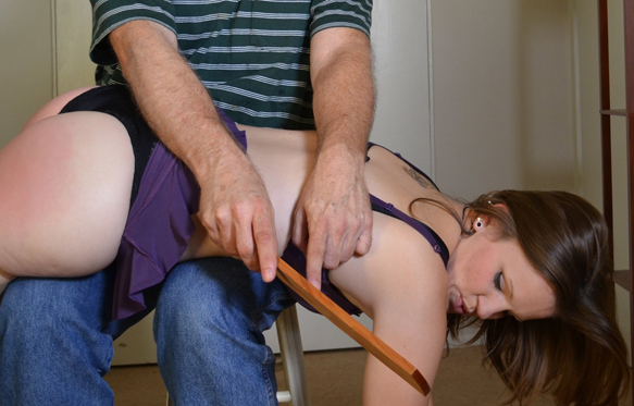 This was a re-enactment for Sweeties of a real spanking that Kitten Tits experienced at a dungeon