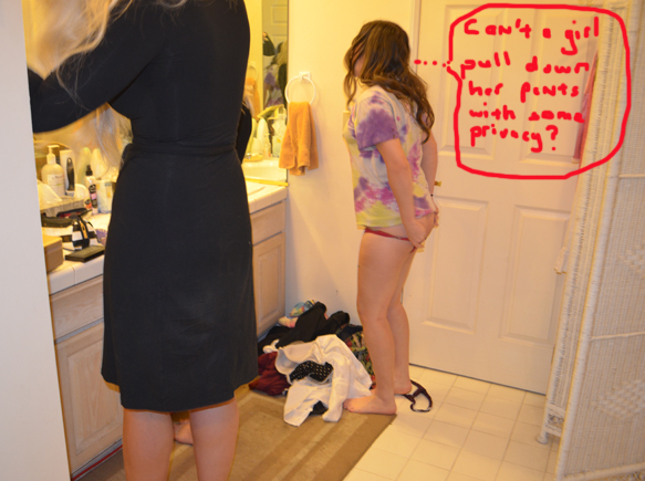 Modest Marie decides to change in the bathroom because the dressing room is overflowing with hot models